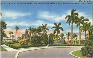 View of south lawn and cabana club, Hollywood Beach Hotel, Hollywood Beach, Florida