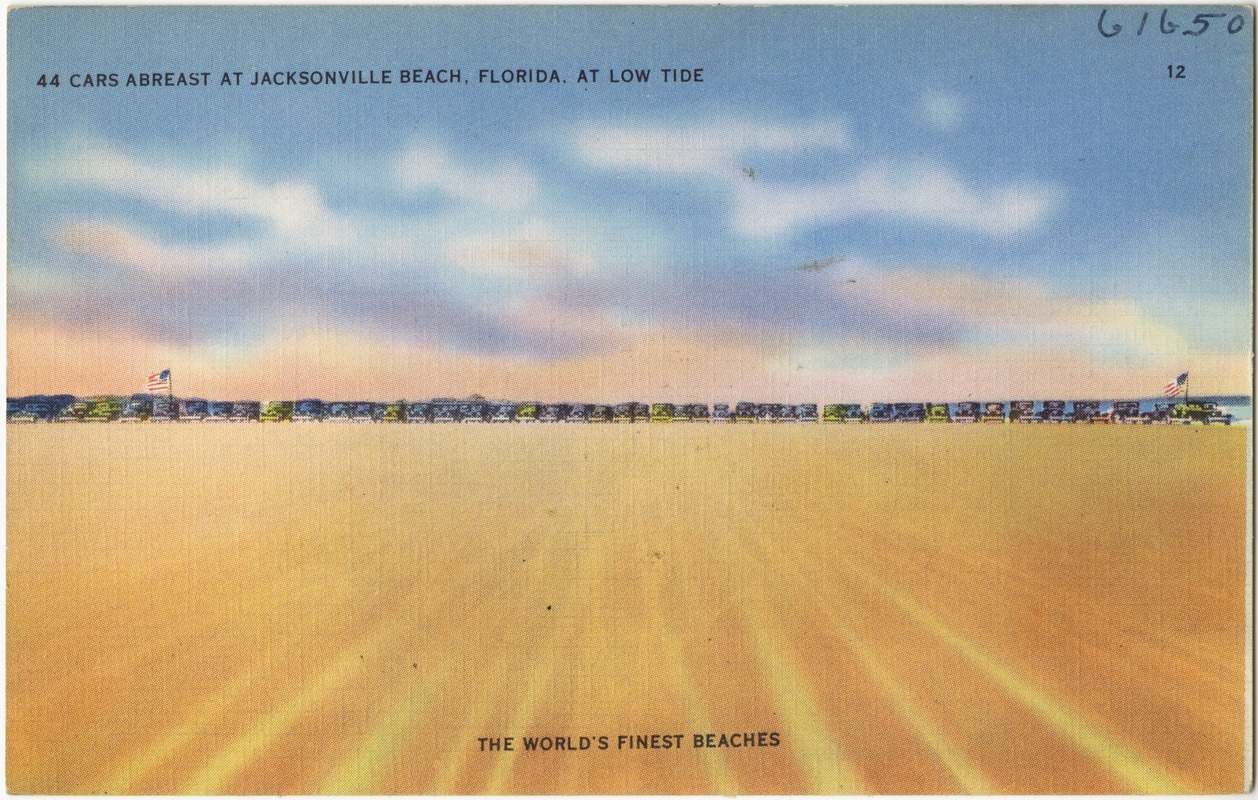 44 cars abreast at Jacksonville Beach, Florida, at low tide