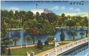View of Confederate Park showing Scottish Rite Temple, Jacksonville, Florida