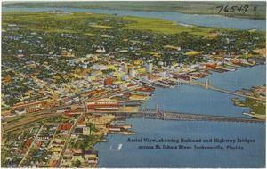 Aerial view, showing railroad and highway bridges across St. John's River, Jacksonville, Florida