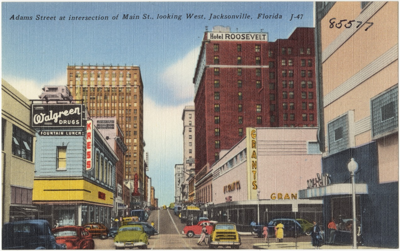 Adams Street at intersection of Main St., looking west, Jacksonville, Florida