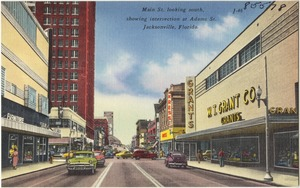 Main St., looking south, showing intersection at Adams St. Jacksonville, Florida