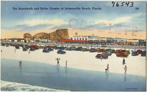 The boardwalk and roller coaster at Jacksonville Beach, Florida