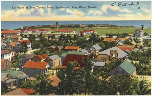 Air view of Fort Taylor for lighthouse, Key West, Florida
