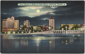 Civic center at night on Lake Mirror, Lakeland, Florida