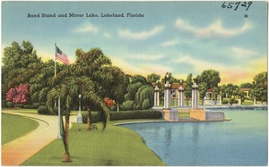 Band stand and landing, on Lake Mirror, Lakeland, Florida