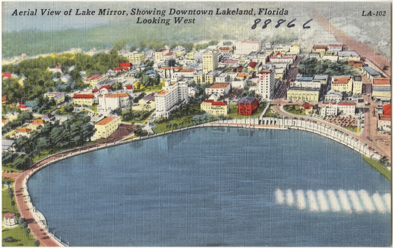 Aerial view of Lake Mirror, showing downtown Lakeland, Florida looking west