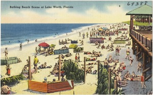 Bathing beach scene at Lake Worth, Florida