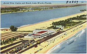 Aerial view casino and beach, Lake Worth, Florida