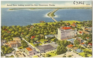 Aerial view, looking toward to bay, Clearwater, Florida