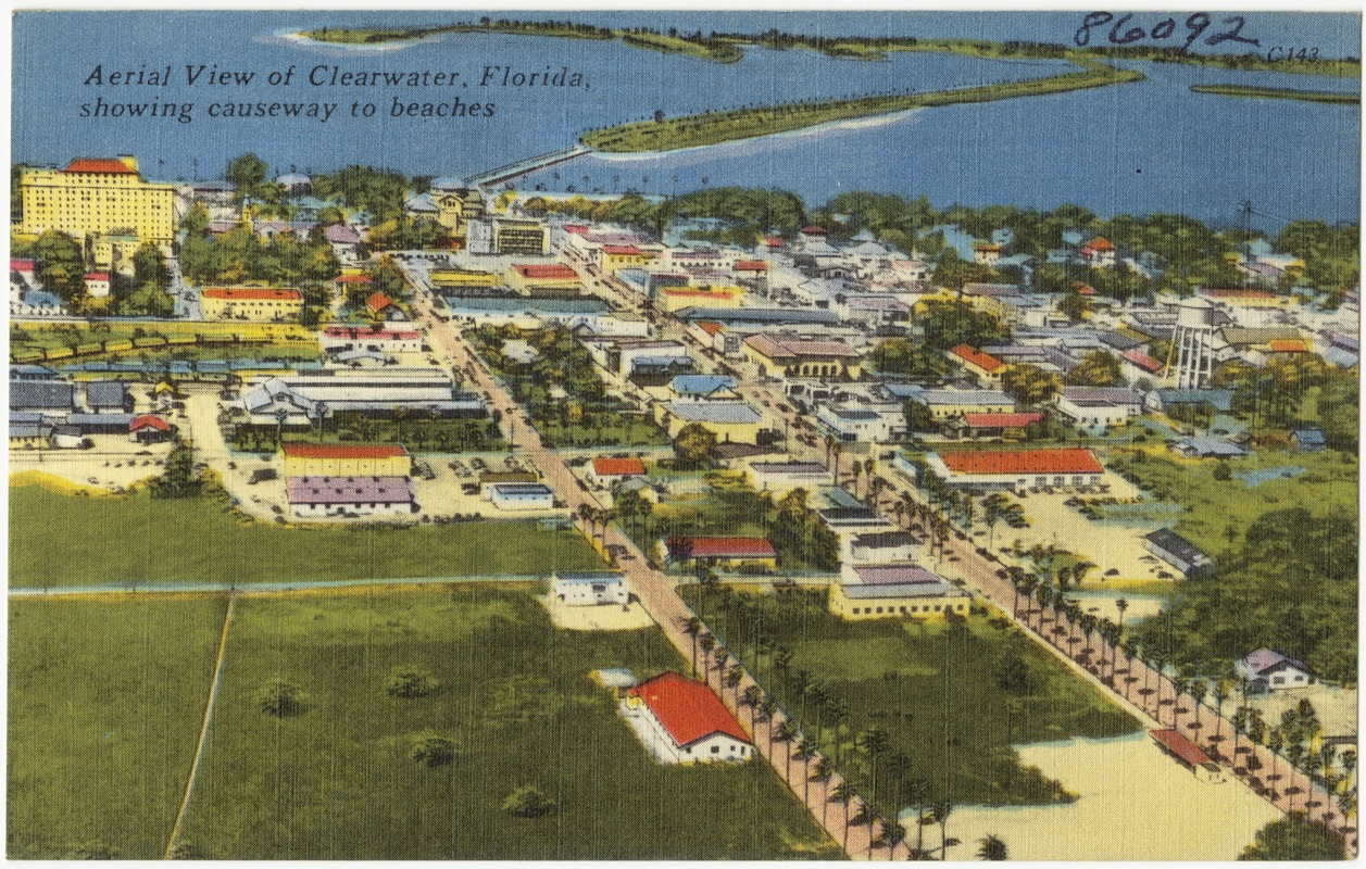 Aerial view of Clearwater Florida, showing causeway to beaches