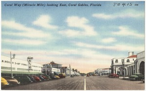 Coral Way (miracle mile) looking east, Coral Gables, Florida