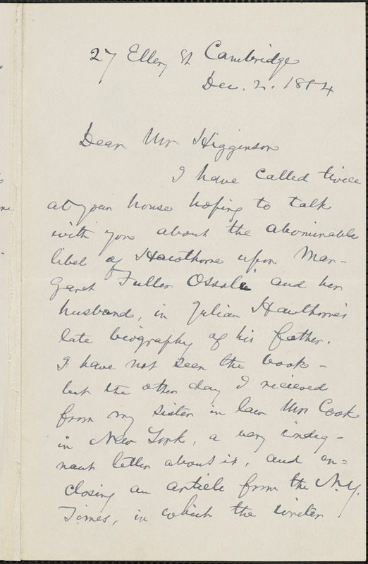 Christopher Pearse Cranch autograph letter signed to Thomas Wentworth Higginson, Cambridge, Mass., 2 December 1884