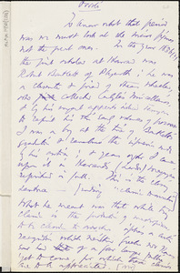 Thomas Wentworth Higginson manuscript notes, 188-?