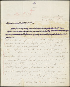 Margaret Fuller autograph letter signed to W.H. Channing, Jamaica Plain, 1 January 1840