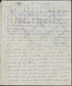 Margaret Fuller autograph letter to William Henry Channing, Chicago, Ill., 10 August 1843