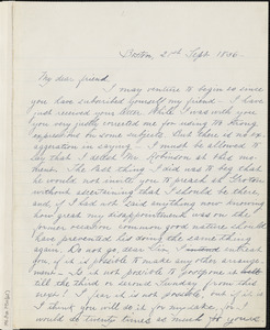 Margaret Fuller manuscript letter (copy) to Ralph Waldo Emerson, Boston, Mass., 21 September 1836