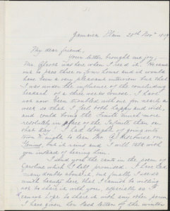Margaret Fuller manuscript letter (copy) to Ralph Waldo Emerson, Jamaica Plain, 25 November 1839
