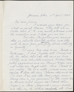 Margaret Fuller manuscript letter (copy) to Ralph Waldo Emerson, Jamaica Plain, 12 April 1840