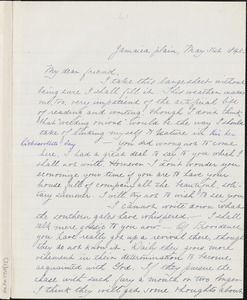 Margaret Fuller manuscript letter (copy) to Ralph Waldo Emerson, Jamaica Plain, 31 May 1840