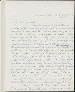 Margaret Fuller manuscript letter (incomplete copy) to Ralph Waldo Emerson, Jamaica Plain, 5 July 1840