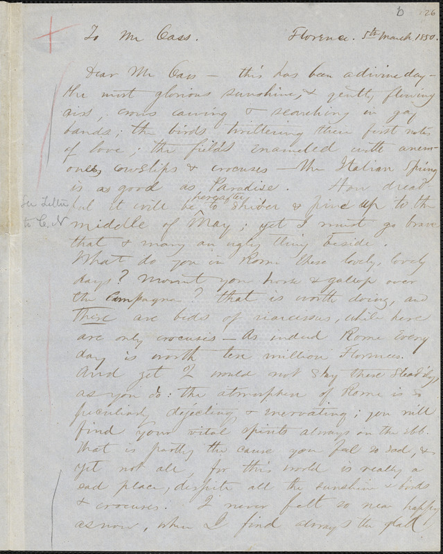 Margaret Fuller, manuscript letter (incomplete copy) to Lewis Cass, Florence, Italy, 5 March 1850.