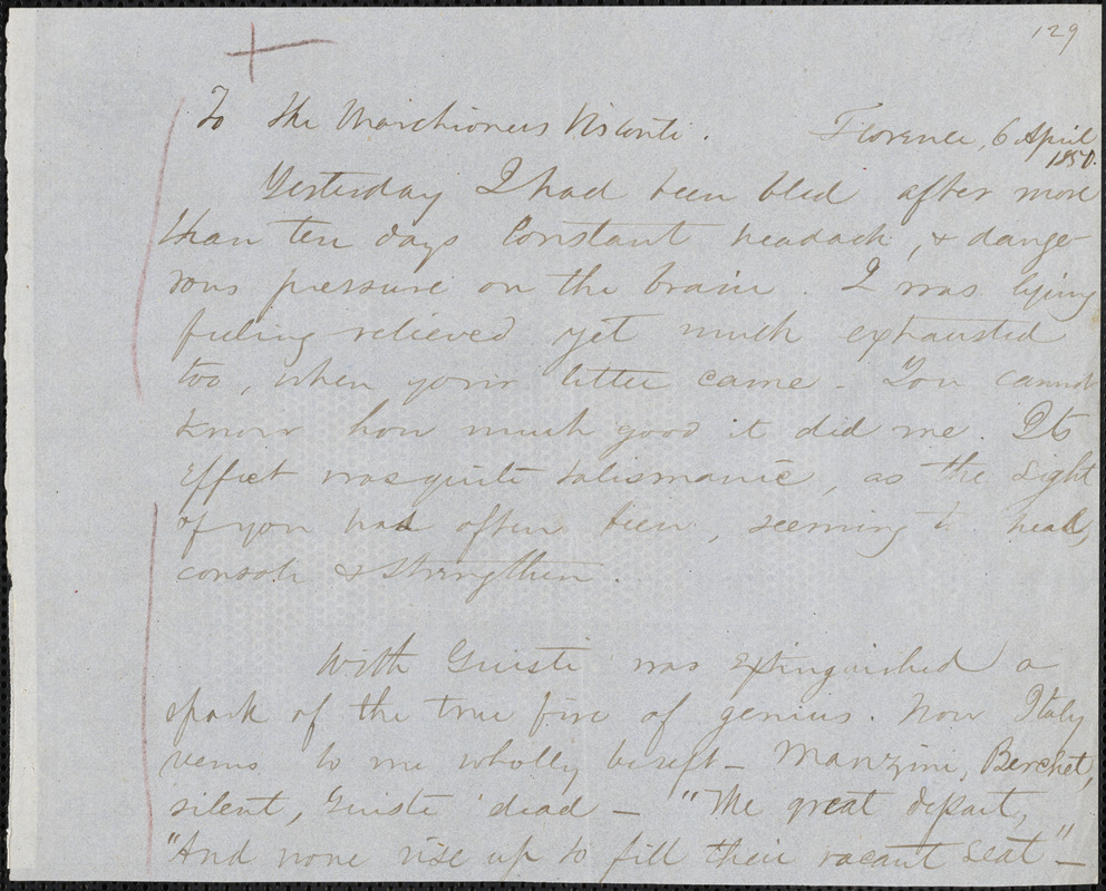 Margaret Fuller autograph letter signed (fragment) to Marchesa Arconati Visconti, Florence, 6 April 1850