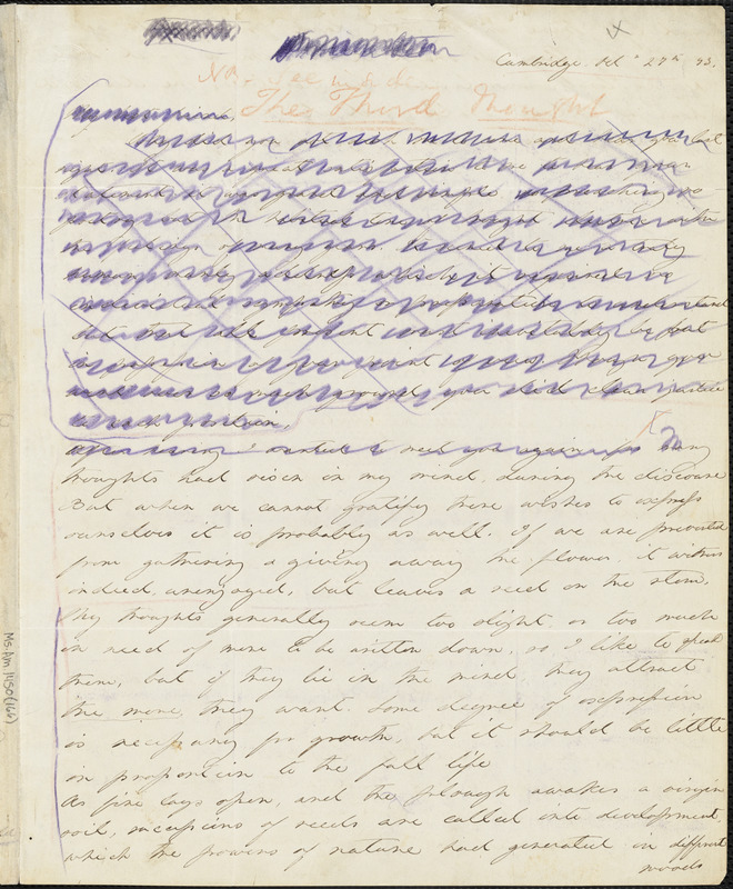 Margaret Fuller autograph letter (incomplete), Cambridge, Mass., 27 October 1843
