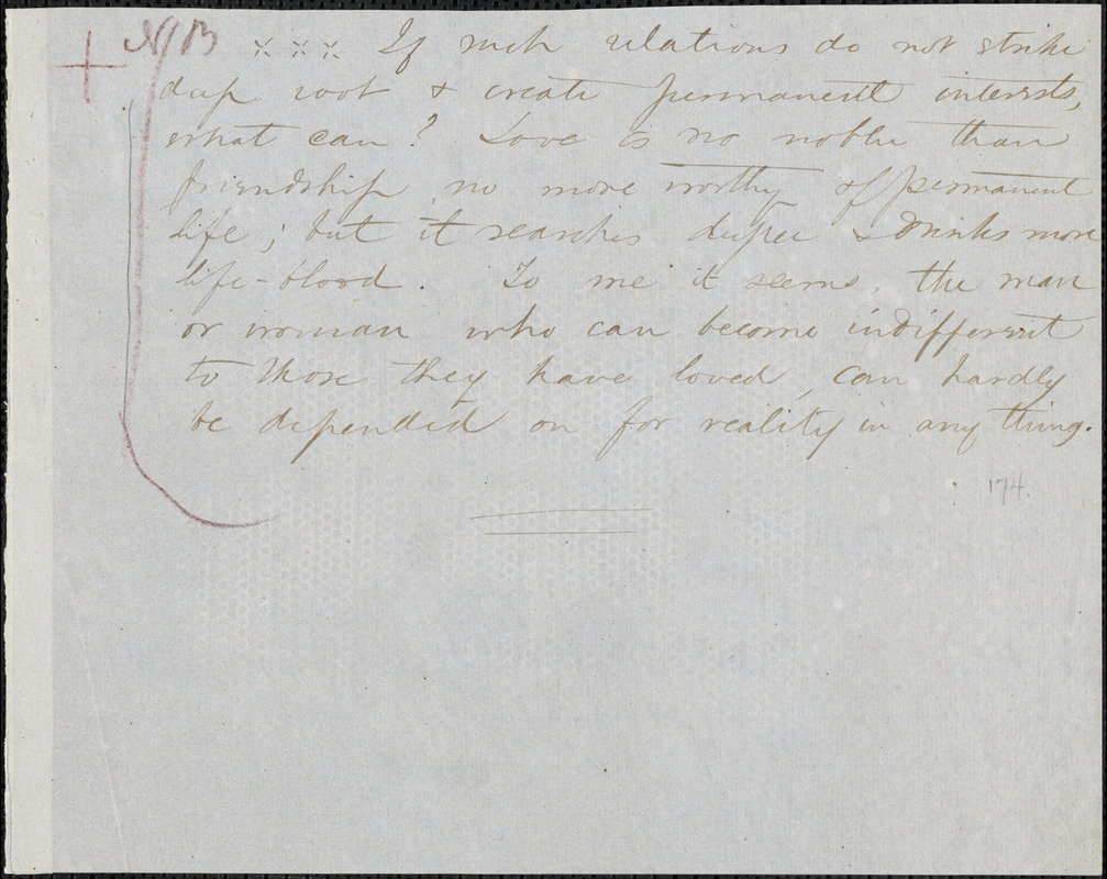 Margaret Fuller manuscript (copy) fragment, 184--?