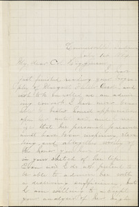 Mary Louise Andrews autograph letter signed to Thomas Wentworth Higginson, Connersville, Ill., 1 July 1884