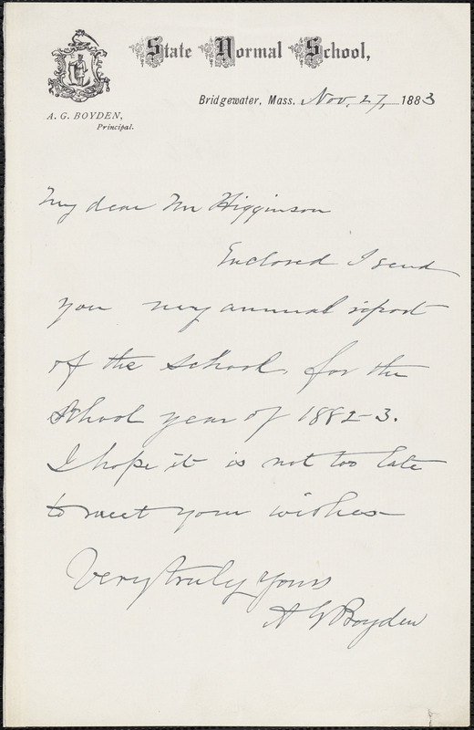 A. G. Boyden autograph note signed to Thomas Wentworth Higginson, Bridgewater, Mass., 27 November 1883 and Thomas Wentworth Higginson manuscript notes, 1883