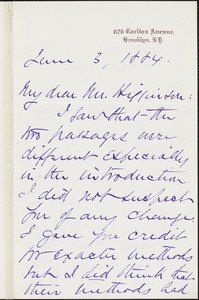 John Chadwick autograph letter signed to Thomas Wentworth Higginson. Brooklyn, 3 June 1884