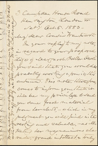 William Henry Channing autograph letter signed to Thomas Wentworth Higginson, London, 6 October 1883