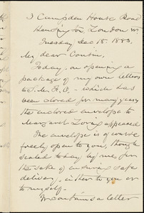 William Henry Channing autograph letter signed to Thomas Wentworth Higginson, London, 18 December 1883