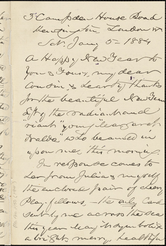 William Henry Channing autograph letter to Thomas Wentworth Higginson, London, 5 January 1884