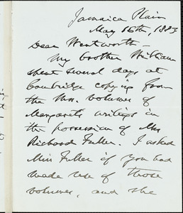 James Freeman Clarke autograph letter signed to Thomas Wentworth Higginson, Jamaica Plain, Mass., 16 May 1883