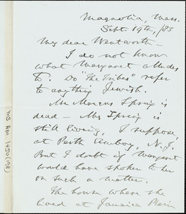 James Freeman Clarke autograph letter signed to Thomas Wentworth Higginson, Magnolia, Mass., 19 September 1883