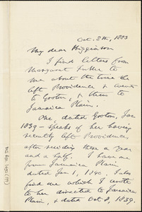 James Freeman Clarke autograph letter signed to Thomas Wentworth Higginson, Boston, Mass., 8 October 1883