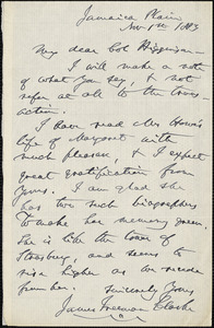 James Freeman Clarke autograph letter signed to Thomas Wentworth Higginson, Jamaica Plain, Mass., 1 November 1883