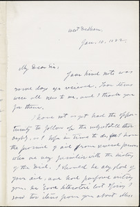 George Willis Cooke autograph letter signed to Thomas Wentworth Higginson. West Dedham, Mass., 1 December 1882