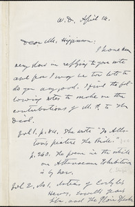 George Willis Cooke autograph letter signed to Thomas Wentworth Higginson, West Dedham, Mass., 16 April 1884?