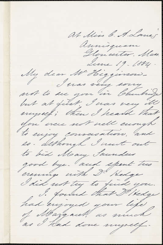 Caroline Wells Healey Dall autograph letter signed to Thomas Wentworth Higginson, Gloucester, Mass., 19 June 1884