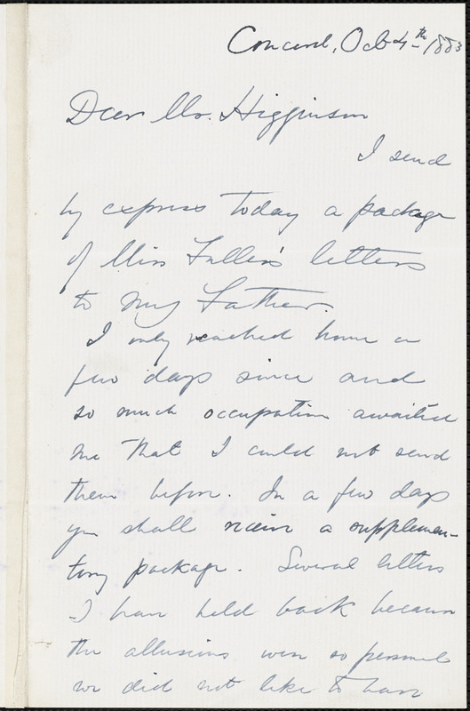 Edward Waldo Emerson autograph note signed to Thomas Wentworth Higginson, Concord, Mass., 4 October 1883