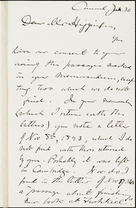 Edward Waldo Emerson autograph note signed to Thomas Wentworth Higginson. Concord, Mass., 30 January 1884