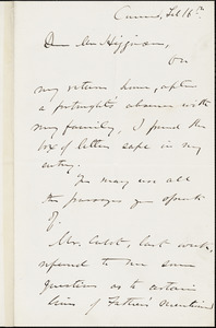 Edward Waldo Emerson autograph letter signed (incomplete) to Thomas Wentworth Higginson, Concord, Mass., 16 February 1884
