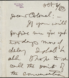 William Torrey Harris autograph note signed to Thomas Wentworth Higginson, Concord, Mass., 6 October 1883