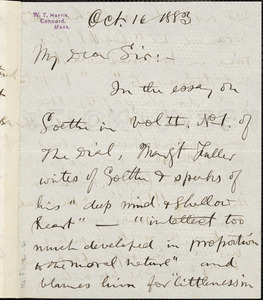 William Torrey Harris autograph letter signed to Thomas Wentworth Higginson, Concord, Mass., 16 October 1883