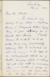 Thomas Wentworth Higginson autograph letter signed to James Freeman Clarke, West Newton, Mass., 29 October 1883