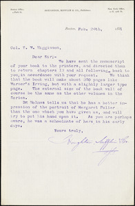 Houghton, Mifflin, & Co. typed letter signed to Thomas Wentworth Higginson, Boston, Mass., 26 February 1884