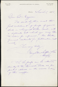 Houghton, Mifflin, & Co. manuscript letters to Thomas Wentworth Higginson, Boston, Mass., 1 March 1884